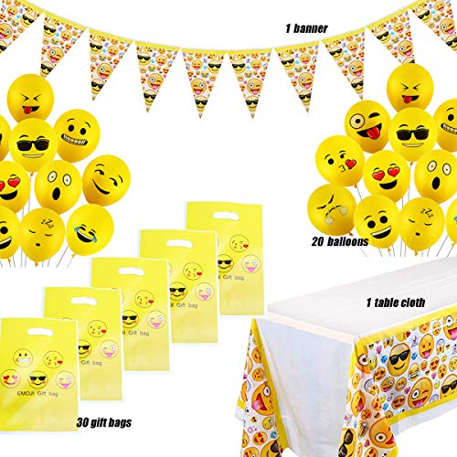 52-delige Partyset Emoji Verjaardagsfeestdecoratie voor Kinderen met Banner, Smileyballon, Feestzakjes, Emoji Smiley Latex Ballonnen, Verjaardagsfeestje