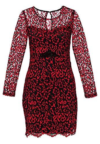 Even&Odd Spitzenkleid für Damen - Mini Kleid mit Blumenmuster elegant, Rot in Größe XS