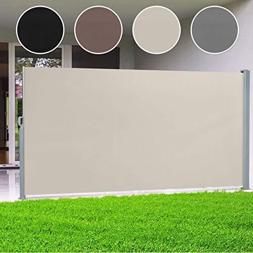 casa pura® Seitenmarkise Beige   ausziehbar bis 300 cm Länge   effektiver Sichtschutz, Sonnenschutz & Windschutz   für Terrasse, Balkon und Garten   viele Höhen (Größe Stoffbahn HxL 160x300 cm)