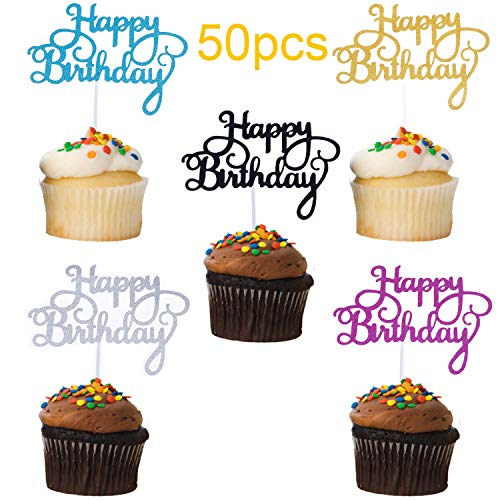Happy Birthday Cake Topper for Party Decoration, Glitter Birthday Cake Topper in Five Colors (50 Pieces)