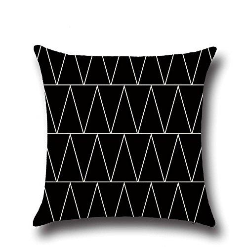 Hengjiang Noir et blanc Motif géométrique Style nordique Couvre-lit Taie d'oreiller double face en coton et lin Housses de coussin Canapé Home Decor Cadeau