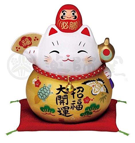 Matsumoto-Toki Fortune Welcoming Cat Pottery 7690 - Daruma Interior para Gato, Talla M, Color Dorado