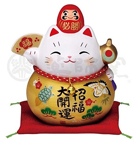 Matsumoto-Toki Fortune Welcoming Cat Pottery 7690 - Daruma Interior para Gato, Talla M, Color Dorado