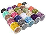 CleverDelights Faux Leather Suede Cord - 25 Roll Set - Mixed Colors - 5 Yds/Roll - 3mm Flat Beading Cord