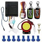 ATFWEL Waterproof Motorcycle Alarm System 12V Motorcycle Anti-Theft Alarm Security System Remote Control Horn Alarm Warner Adjustable 5 Sensitivity Levels