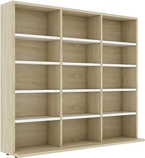 vidaXL CD Cabinet Storage Rack Display Shelf Bookshelf Bookcase Stand Book Multimedia DVD Organiser Living Room Chipboard ...