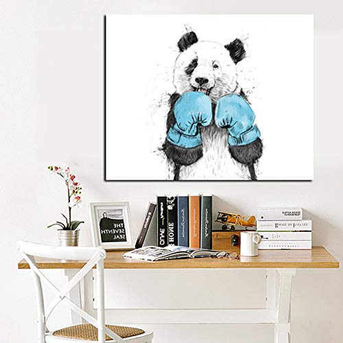 N/A Canvas decorative prints Cute Animal Minimalist Panda Boxer Oil Painting on Canvas for Kids Rooms for Living Room Poster Decoration-60x80cm