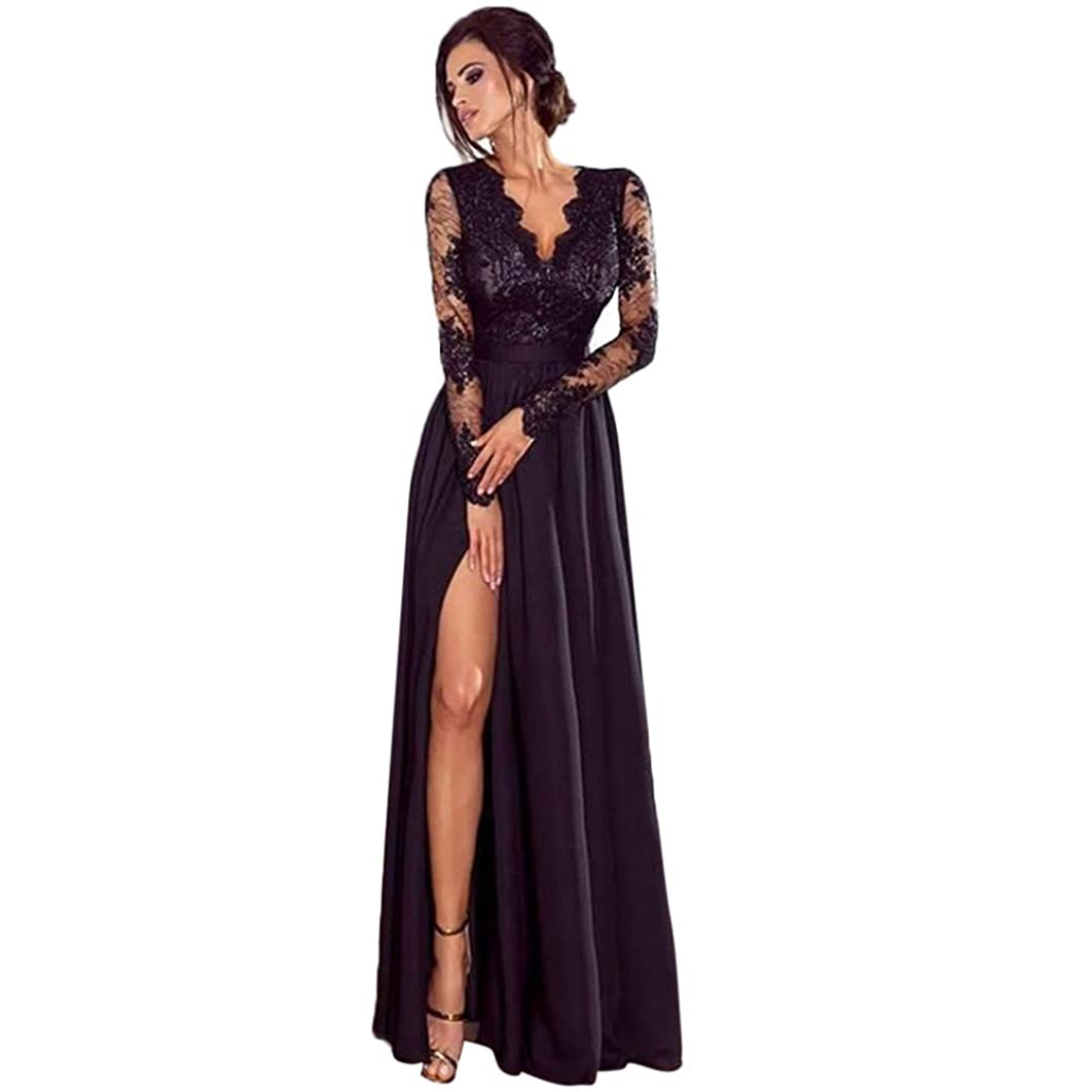 High Slit Hem Ball Gown,Keepfit Women's Fashion Lace Long Sleeve Deep V-Neck Slim Evening Long Dress