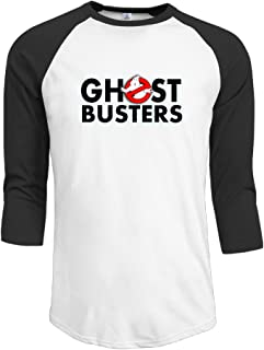 Mens Ghost Busters Logo 100% Cotton 3/4 Sleeve Athletic Raglan Sleeves T-Shirt