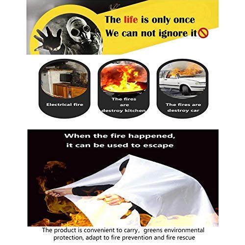 SKAMZ Premium Fire Blanket [Upgraded Size XL 47.2x47.2inches 3-Pack] Fire Blanket Fire Suppression Blanket Fire Emergency Blankets for Kitchen, Camping,BBQ Grilling 1.2x1.2Metre