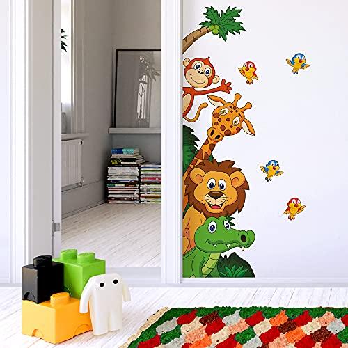R00008 Adesivi Murali SofficeEffetto Tessuto Animali Savana ZooDecorazione Muro Bambino Neonato Nursery Cameretta Asilo Nido Carta da Parati Adesiva