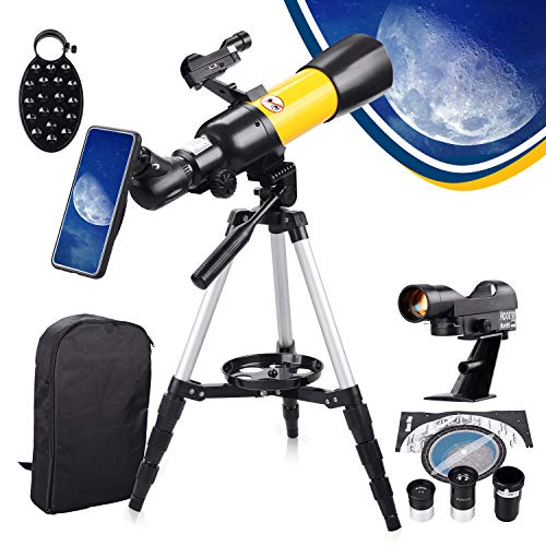 Upgrade Telescope for Kids Beginners Adults, 70mm Aperture 400mm Astronomical Refractor, Portable Telescope with Backpack, Red-dot Finder Scope, Baader Solar Filters, Tripod and Phone Adapter