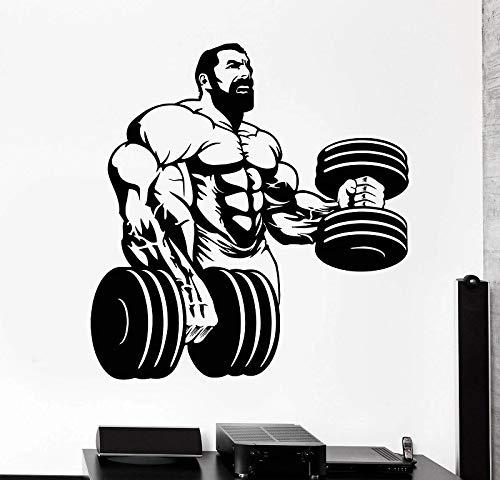 Hombre musculoso duradero fitness culturismo fitness vinilo pared culturismo club gimnasio hogar pegatinas de pared decorativas