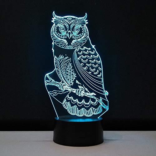 Diseño de arte único, visión 3D, reloj LED, búho, luz nocturna de 7 colores, luz nocturna transparente, ilusión, iluminación de habitación, regalo