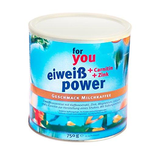 for you Power Eiweiß nach Strunz I Eiweißpulver Milchkaffee 750g I mit Carnitin Whey-Protein Sojaprotein Milchprotein I Biologische Wertigkeit 156 I Mehrkomponenten Protein Pulver