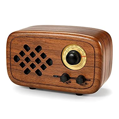 Rerii Handmade Walnut Wood Portable Bluetooth Speaker, Bluetooth 4.0 Wireless Speakers with Radio FM/AM, Nature Wood Home Audio Bluetooth Speakers with Super Bass and Subwoofer