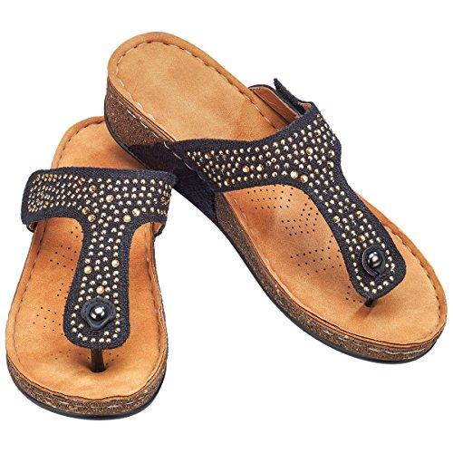 wonderwalk Damen Komfort-Sandale Zehentrenner Flipflop