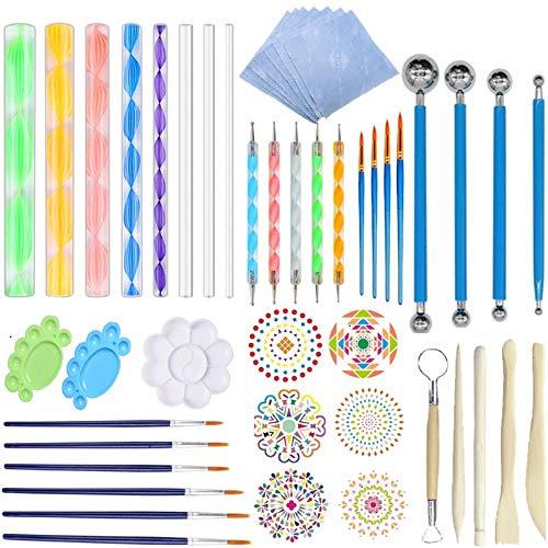 Fycooler Mandala Dotting Tools Set 48pcs Mandala Stencil Kit de herramientas de...