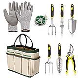 evokem Garden Tools Kit, Vegetable Herb Gardening Tools with Storage Tote - Garden Trowel Pruners, 5 Garden Hand Tools, Garden Gloves, A Plant Rope (US STOCK)