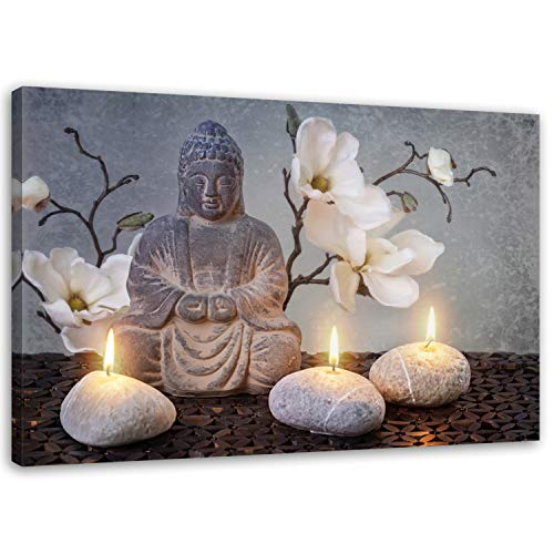Feeby Frames, Leinwandbild, Bilder, Wand Bild, Wandbilder, Kunstdruck 50x70cm, Buddha, Zen-Kultur, Kerzen, Blumen