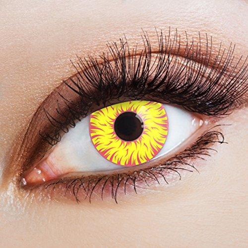 aricona Kontaktlinsen - Gelb-rote Kontaktlinsen Motivlinsen – deckende Kontaktlinsen ohne Stärke für Halloween, Karneval, Fasching und Kostüm-Partys