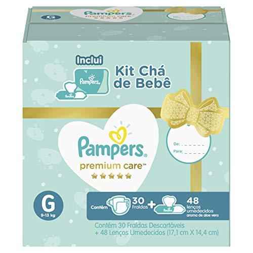 Kit Fralda Pampers Premium Care G 30 Un + Lenços Umedecidos Aloe Vera 48 Un, Pampers