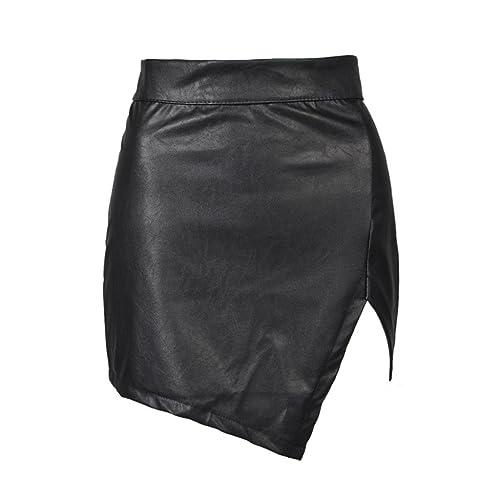 9ef266b4e Choies Women's Black Cut Out Mid Waist Asymmetric Hem PU Mini Skirt