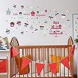 Wallflexi Stickers muraux Cristaux Swarovski & Cupcakes muraux Stickers pour décoration de la Maison Salon Chambre d'enfant Restaurant Cafe Bureau Décor