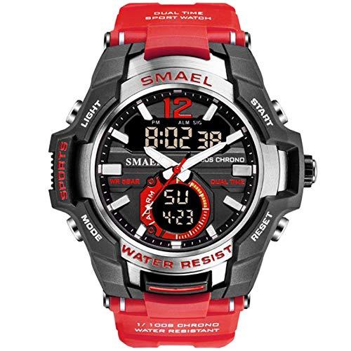 SMAEL Relojes Deportivos para Hombre, Resistente al Agua Digital Militares Relojes con Cuenta atrás para los Hombres niños Grandes,LED de analógico Relojes de Pulsera para Hombre,Rojo