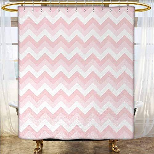Chevron Waterproof Shower Curtain Zigzag Chevron Grunge Pattern in Soft Colors Simplicity Artful Design Shower Curtains in Bathroom Rose Pale Pink White 94x72 INCH