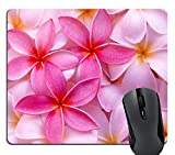 Knseva Girly Tropical Pink Plumeria Flowers Exotic Hawaii Leis Fresh Pretty Mouse Pad Hot Pink Floral Mouse Pads