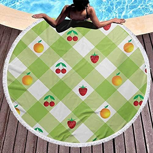 Toalla de Playa Baño a Cuadros Toallas de Playa Toallas de Piscina Frutas Frescas maduras Tema de Verano con Cereza Fresa Naranjas Manta multifunción Verde Pistacho Rojo Naranja (Diámetro 59 ')