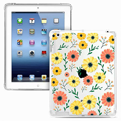 Miagon Weich Dünn Hülle für iPad 2 3 4 (Old Model),Kreativ Durchsichtig Bunt Muster Clear Leicht TPU Crystal Bumper Schutzhülle Cover mit Airbag Ecke,Gänseblümchen