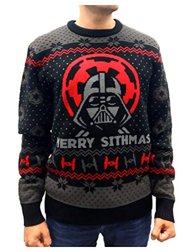 Star Wars Darth Vader Ugly Christmas Sweater Merry Sithmas Adult Holiday Sweater X-Large Multicolor