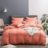 UMI Merryfeel Classic Satin Striped Duvet Cover Set,Brushed Soft Microfiber Bedding.(6 Sizes,12 Colours) (Single,Orange)