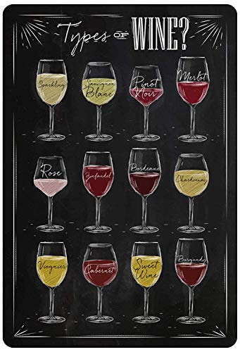 Types of Wine wijn Merlot Chardonnay Bordeaux metalen bord bord bord gebogen metalen plaat metaal Tin Sign 20 x 30 cm