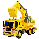 HERSITY Kids Toy Digger, Truck Lorry Toys Construction Vehicles with Lights and Sounds Cars Educational Toys Gifts for Children 3 4 5 6 Years Old Boys and Girls