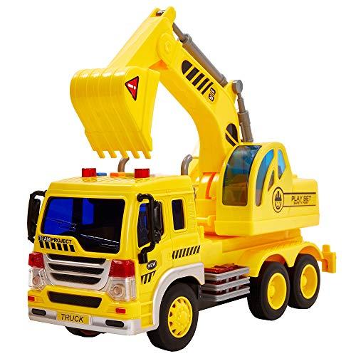 HERSITY Camiones Grandes de Juguete, Excavadora Coches Vehiculos de Construccion con Luces y Sonidos Regalos para Niños 3 4 5 6 Años