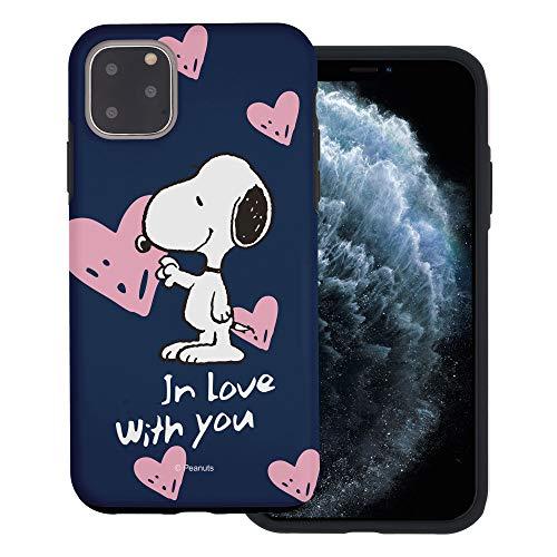 """iPhone 11 ケース と互換性があります Peanuts Snoopy ピーナッツ スヌーピー ダブル バンパー ケース デュアルレイヤー 【 アイフォン 11 ケース (6.1"""") 】 (スヌーピー In Love 藍色) [並行輸入品]"""