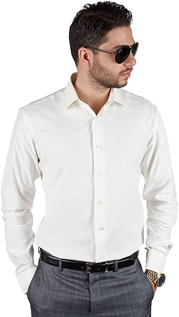 Slim Fit Men's Dress Shirt Solid Color Long Sleeves Spread Collar Fitted by AZAR