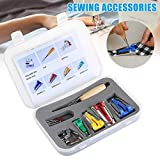 Gizayen 16pcs Set Bias Tape Maker Kit for Sewing Quilting Awl and Binder Foot Tools Sewing Accessories, Fabric Bias Tape Makers Kit with Sewing Awl Bead Needles Adjustable Binder Clip Wooden Awl
