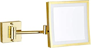 8in Wall Mounted Double Sided Makeup Mirror with LED Light, Folding 3X Magnifing Vanity Mirror