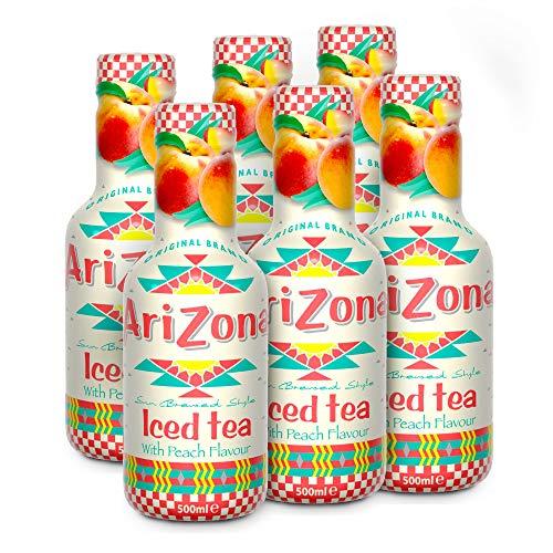 AriZona Green Tea - Low Sugar, Low Calorie, Peach Flavour - 500 ml, Pack of 6 Healthy Tea