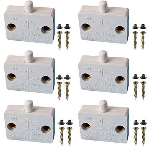VISSQH 6Pcs Interruptor para Armarios,Empuje de superficie Interruptor de contacto para puerta de mueble Iluminación Interruptor automático 1A 250V la luz de puerta del interruptor del empuje Blanco