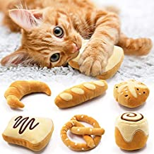 Bread Catnip Toys Kitten Interactive Toys for Cat Lover Gifts Kitty Chew Bite Kick Toys Supplies Baguette Croissant Pretzel Toast Bun Cinnamon Roll Plush Catmint Pet Presents Set of 6
