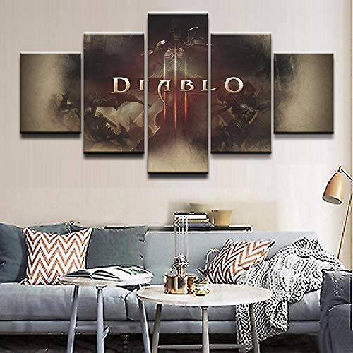 ADGUH Cuadro sobre LienzoWall Art Canvas Living Room Home Decor Poster Frame 5 Piezas Gmae Demon Hunter Diablo Loge Painting HD Prints PicturesImpresiones en Lienzo