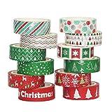 """Washi Tape Set Chrismas Silver 12 Rolls Decorative Duct Tape Holiday Christmas Craft Decorative Set Xmas 0.6"""" x 16.4ft"""