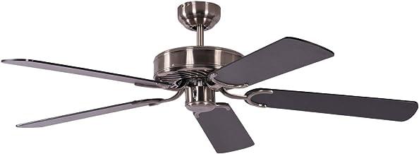 Pepeo Ventilateur de plafond sans éclairage Potkuri, argent patiné, pâles réversibles noires / rayures, 132 cm