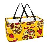 La bolsa de asas reutilizable del ultramarinos, cesta de compras grande, modelo de los cráneos del chile del bolso del almacenamiento 50L
