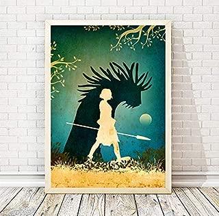 Studio Ghibli Hayao Miyazaki Princess Mononoke Minimalist Movie Poster, Artwork Print, Office Decor, Home Decor, Wall Hanging, Cafe Decor